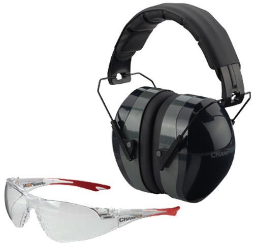 Champion Targets 40622 Eyes & Ears Combo 26 dB Over the Head Black Ear Cups with Black Headband & Gray Accents Muff & Ballistic Clear Lens with Clear Open Frame Glasses for Adults