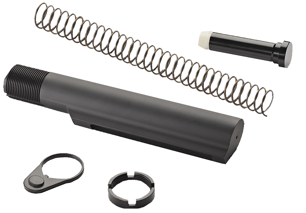 Advanced Technology A5102240 AR-15 Buffer Tube Assembly Mil-Spec Aluminum Black Hardcoat Anodized