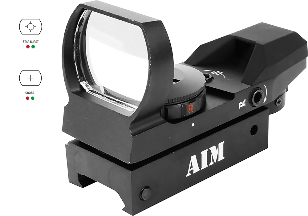 Aim Sports RT403 Reflex Red Dot 1x 33mm Obj Unlimited Eye Relief Multi-Reticle Black