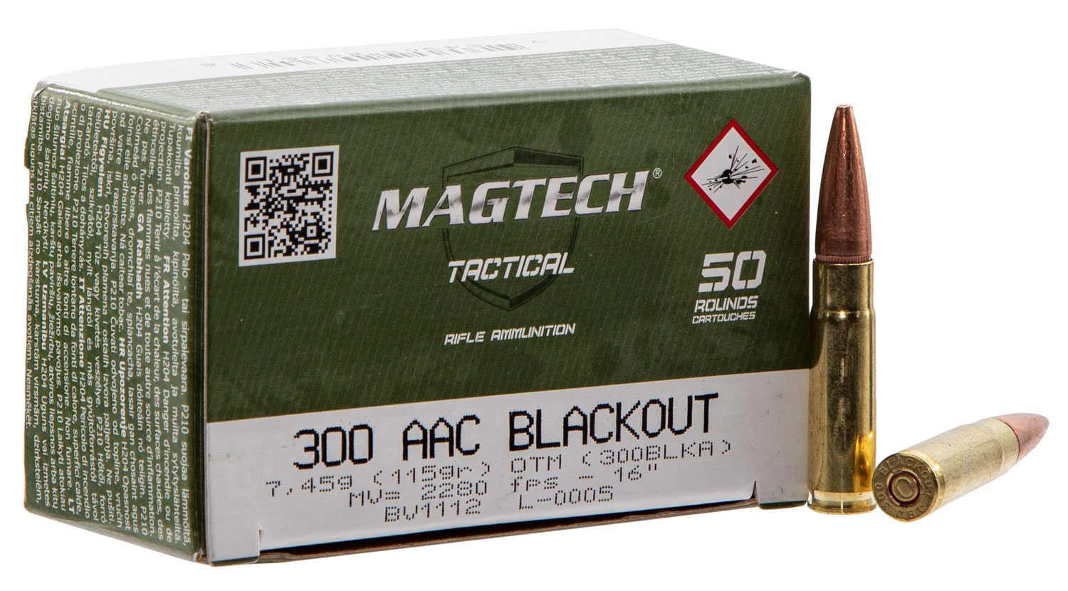 Magtech 300BLKA Rifle 300 AAC Blackout/Whisper (7.62X35mm) 115 GR Flat Base Hollow Point 50 Bx/ 20 Cs