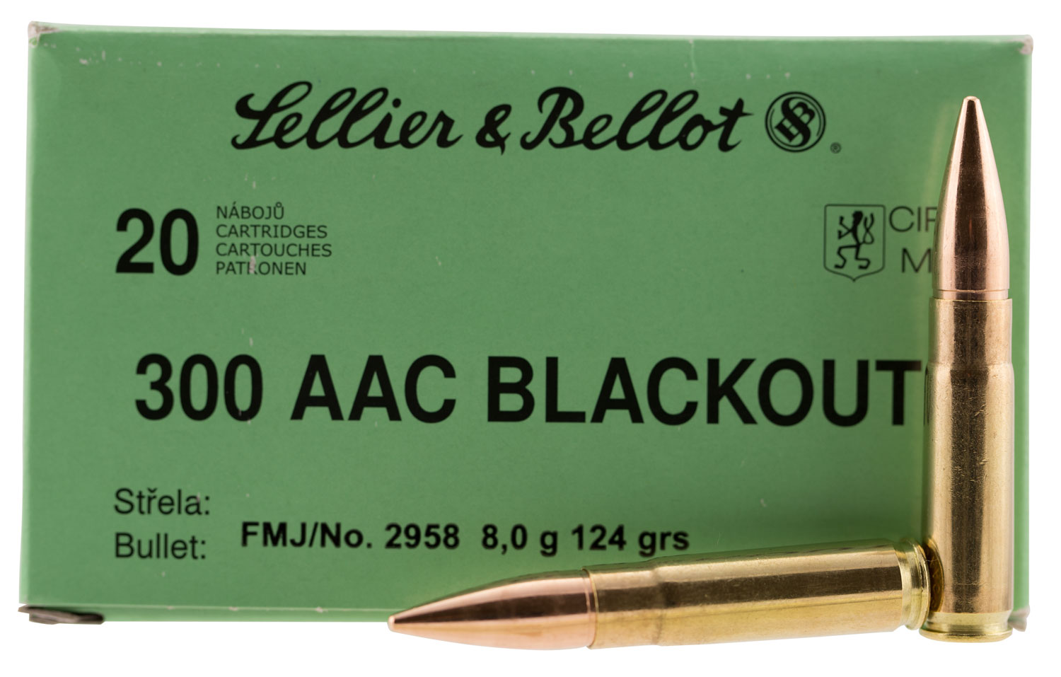 Sellier & Bellot 300BLKA Rifle 300 AAC Blackout 124 GR Full Metal Jacket 20 Bx/ 50 Cs