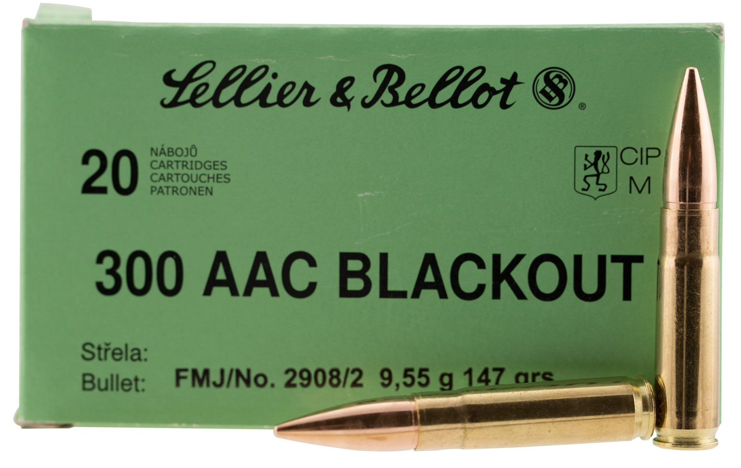 Sellier & Bellot 300BLKB Rifle 300 AAC Blackout 147 GR Full Metal Jacket 20 Bx/ 50 Cs
