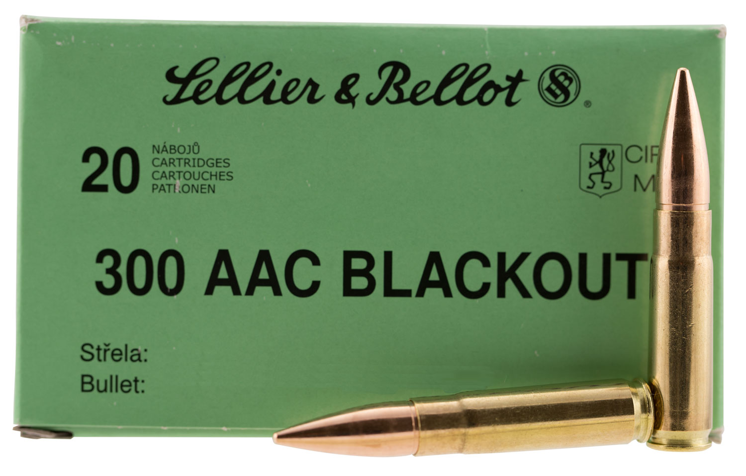 Sellier & Bellot 300BLKSUBA Rifle Subsonic 300 AAC Blackout/Whisper (7.62x35mm) 200 GR Full Metal Jacket Subsonic 20 Bx/ 50 Cs