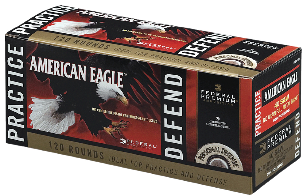 Federal PAE40180 American Eagle Pratice and Defend Combo  40 Smith & Wesson (S&W) 180 GR Full Metal Jacket/Hydro-Shok JHP 120 Bx/ 4 Cs