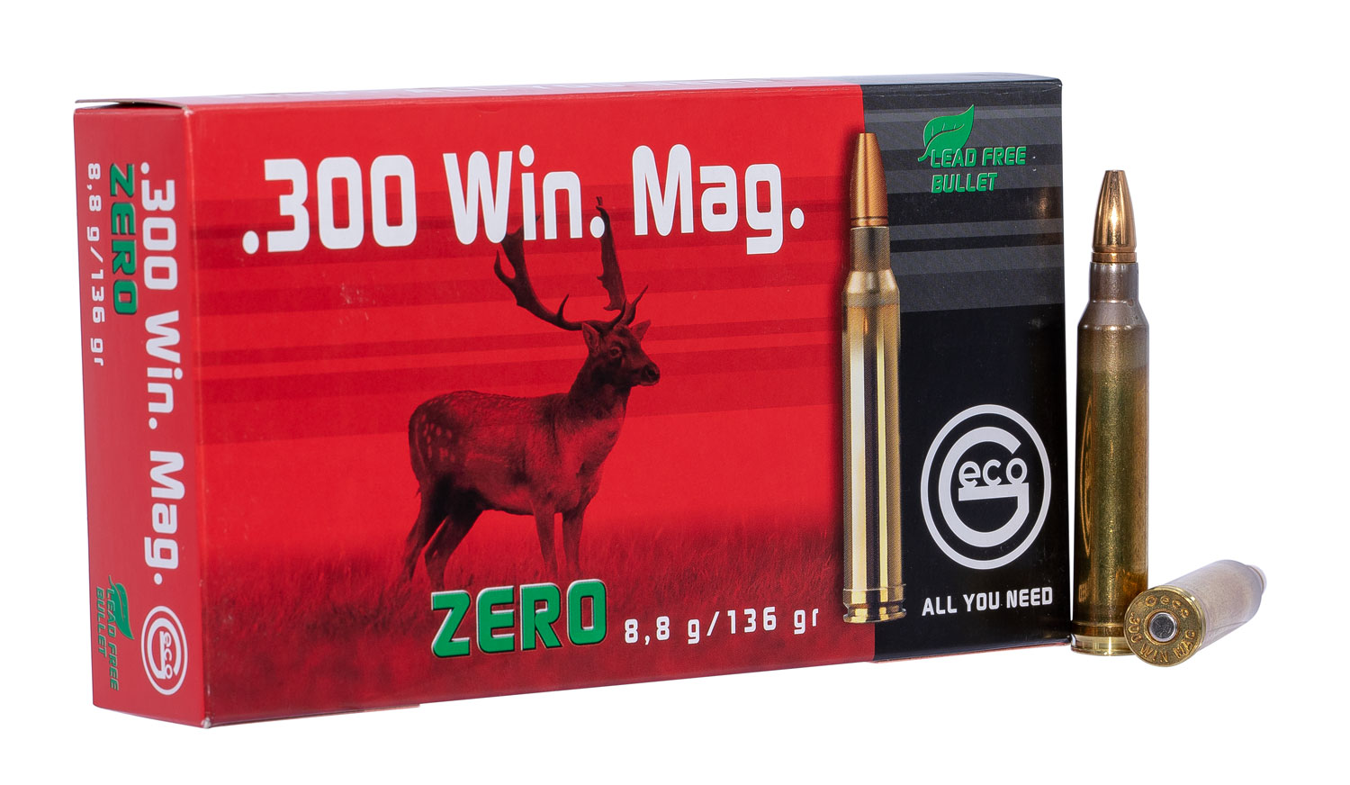 288240020 JHP Geco Zero  300 Winchester Magnum 1336 GR Jacketed Hollow Point 20 Bx/10 Cs