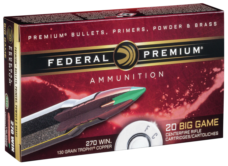 Federal P270TC1 Premium   270 Winchester 130 GR Trophy Copper 20 Bx/ 10 Cs