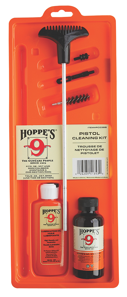 Hoppes PCO38B Pistol Cleaning Kit - Clam Pack 357/38 Handgun Caliber
