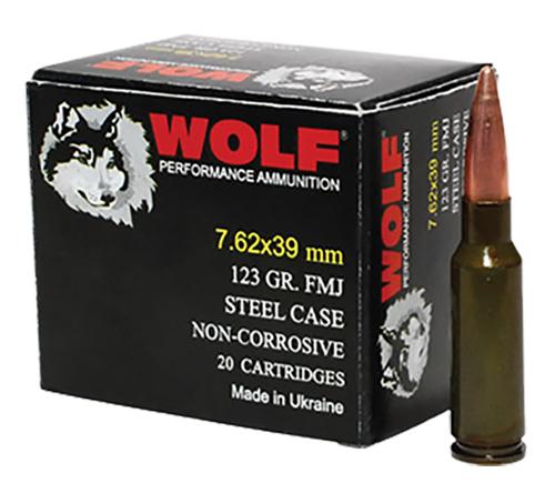 Wolf 762WFMJ Performance Rifle 7.62X39mm 123 GR Full Metal Jacket 20 Bx/ 50 Cs 1000 Total
