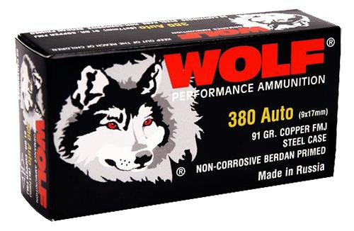 Wolf MC917FMJ Military Classic Pistol 380 Automatic Colt Pistol (ACP) 94 GR Full Metal Jacket 50 Bx/ 20 Cs 1000 Total (Case)