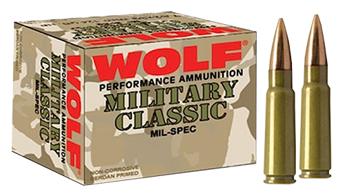 Wolf MC308SP168 Military Classic Rifle 308 Winchester/7.62 NATO 168 GR Soft Point 20 Bx/ 25 Cs 500 Total (Case)
