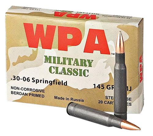 Wolf MC3006FMJ145 Military Classic Rifle 30-06 Springfield 145 GR Full Metal Jacket 20 Bx/ 25 Cs 500 Total (Case)
