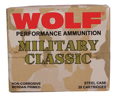 Wolf MC3006FMJ168 Military Classic Rifle 30-06 Springfield 168 GR Full Metal Jacket 20 Bx/ 25 Cs 500 Total (Case)