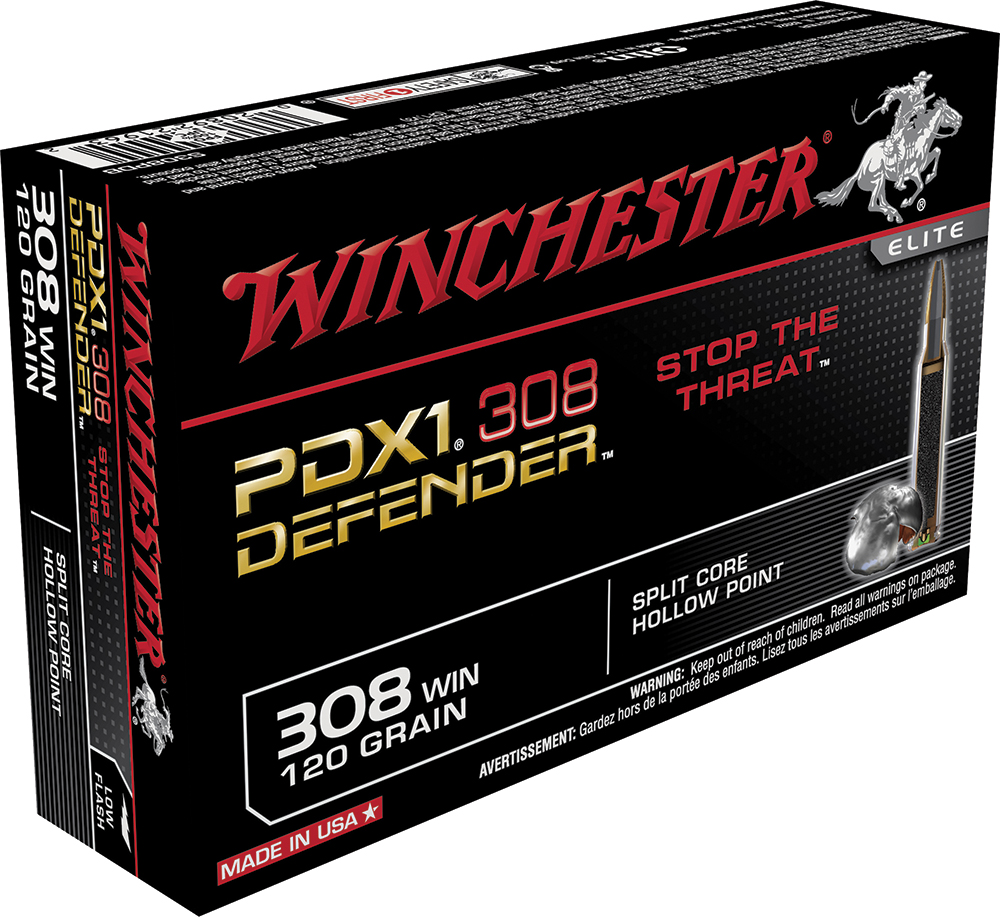 Winchester Ammo S308PDB Elite PDX1 Defender 308 Winchester/7.62 NATO 120 GR Split Core Jacketed Hollow Point 20 Bx/ 10 Cs