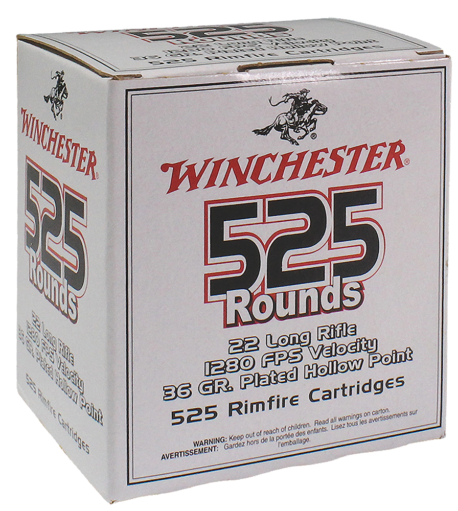 Winchester Ammo 22LR525HP USA  22 LR 36 gr Copper Plated Hollow Point (CPHP) 525 Can/ 10 Cs