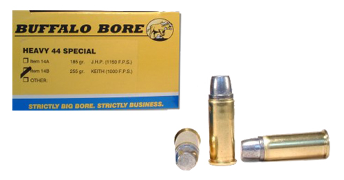 Buffalo Bore Ammunition 14B20 Outdoorsman 44 Special 255 GR Hard Cast Keith Semi-Wadcutter 20 Bx/ 12 Cs
