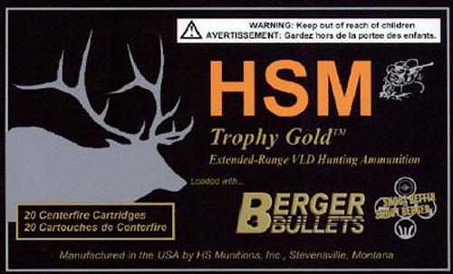 HSM BER308185VLD Trophy Gold 308 Win/7.62 NATO 185 GR BTHP 20 Bx/ 1 Cs