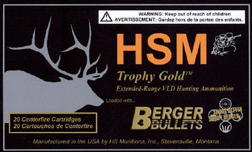 HSM BER300WBY185 Trophy Gold 300 Weatherby Magnum BTHP 185 GR 20Rds