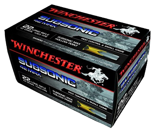 Winchester Ammo W22SUB42U 42 Max 22 Long Rifle 42 GR Subsonic Hollow Point 50 Bx/ 100 Cs
