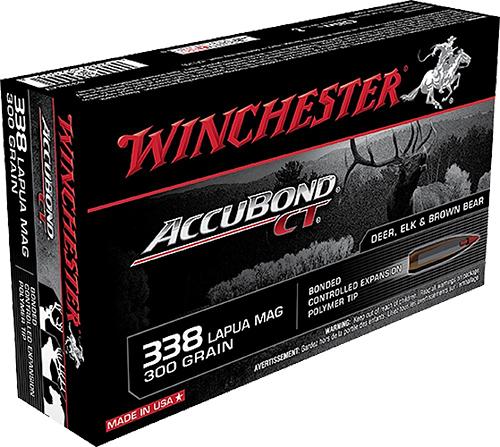 Winchester Ammo S338LCT Supreme 338 Lapua Magnum 300 GR AccuBond CT 20 Bx/ 10 Cs