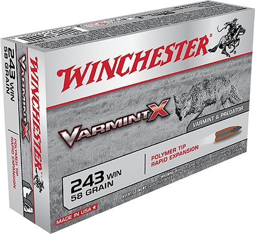 Winchester Ammo X243P Super-X 243 Winchester 58 GR Varmint 20 Bx/10 Cs