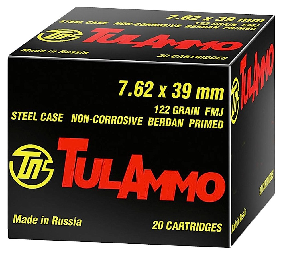 Tulammo UL076210 Centerfire Rifle 7.62X39mm 122 GR FMJ 100 Bx/ 10 Cs