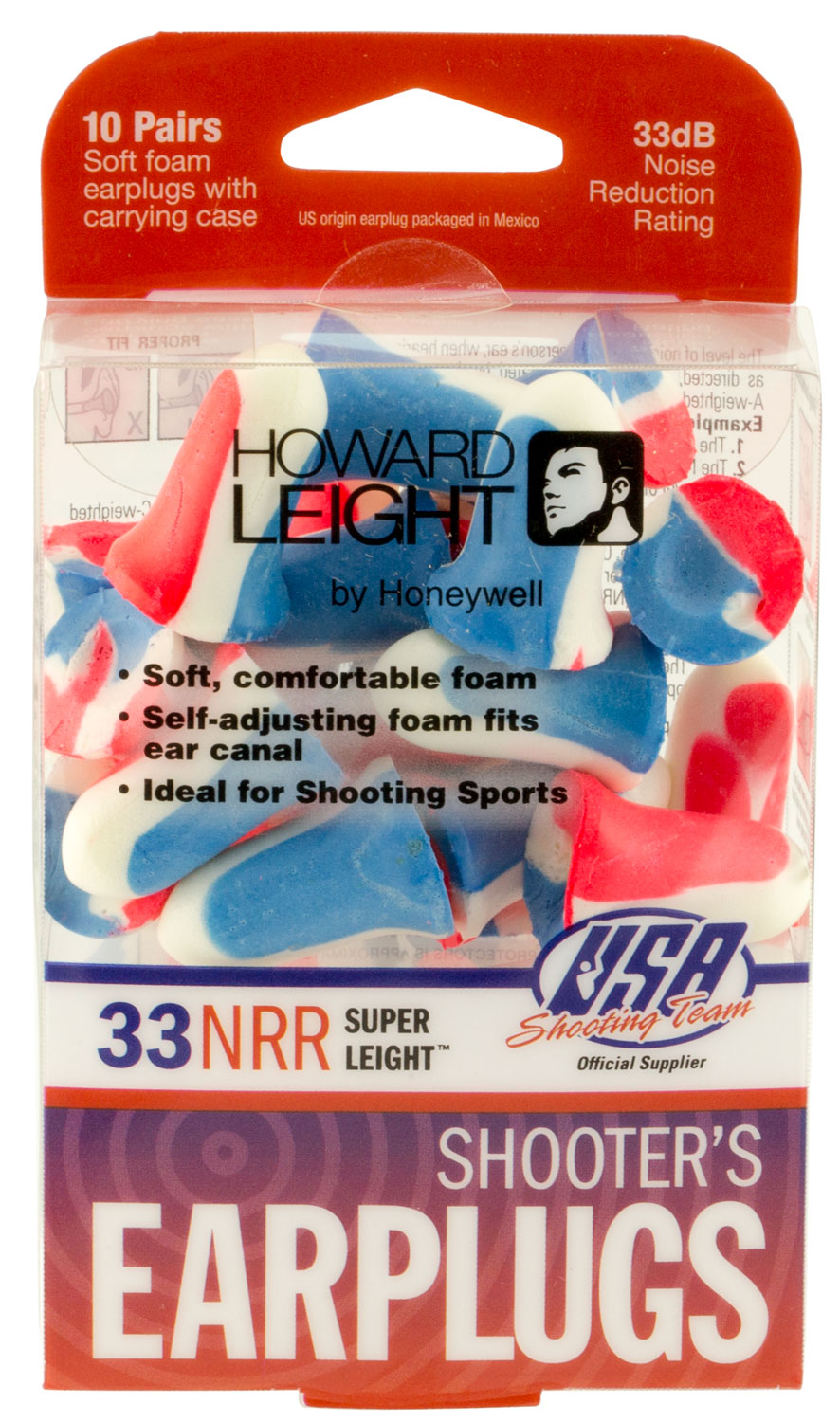 HOWARD USA SHOOTERS EAR PLUGS 10PK RED WHITE BLU