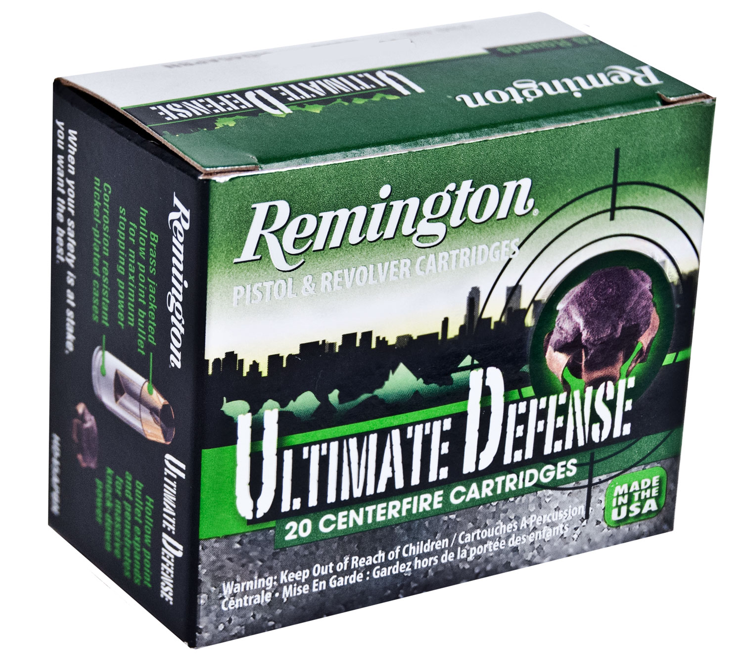 Remington Ammunition HD9MMBN Ultimate Defense Full Size Handgun 9mm Luger 124 GR Brass Jacket Hollow Point 20 Bx/ 25 Cs