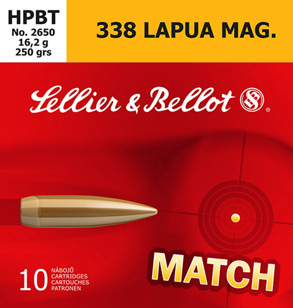 Sellier & Bellot SB338LMA Rifle Match 338 Lapua Magnum 250 GR Boat Tail Hollow Point 10 Bx/ 10 Cs