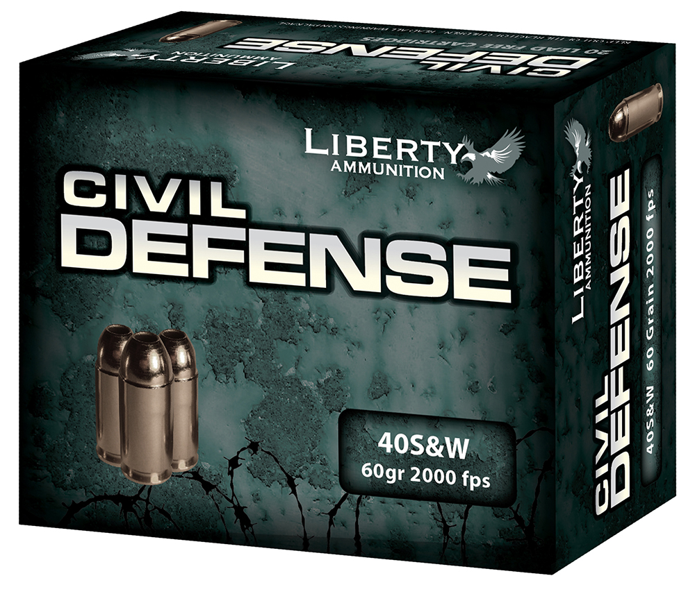 Liberty Ammunition LACD40012 Civil Defense 40 S&W  40 Smith & Wesson (S&W) 60 GR Hollow Point 20 Bx/ 50 Cs