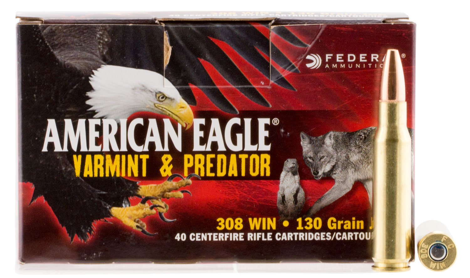 Federal AE308130VP American Eagle Varmint & Predator  308 Winchester/7.62 NATO 130 GR Jacketed Hollow Point 40 Bx/ 5 Cs