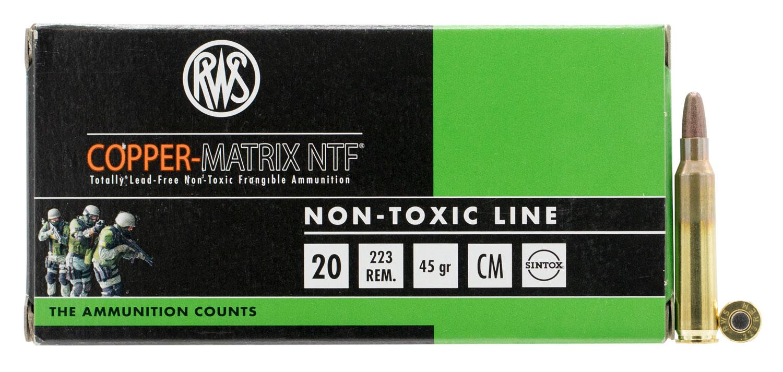 222540020 NTF RWS Copper-Matrix  .223 Remington 45 GR Non-Tox Frangible 20 Bx/25 Cs