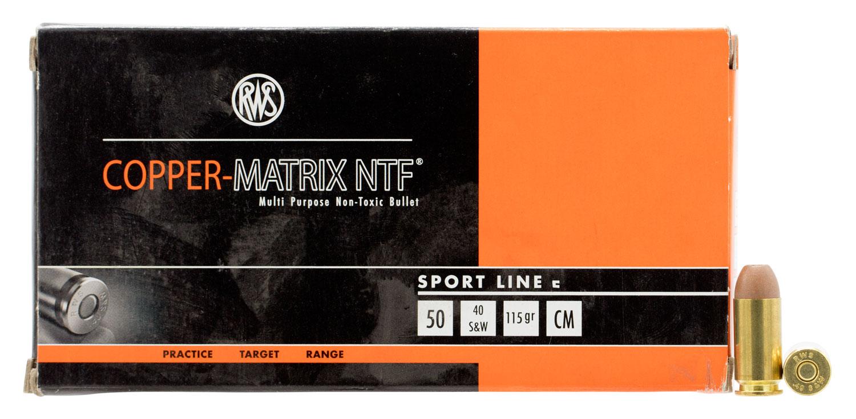 240140050 NTF RWS Copper-Matrix  40 Smith & Wesson 115 GR Non-Tox Frangible 50 Bx/10 Cs
