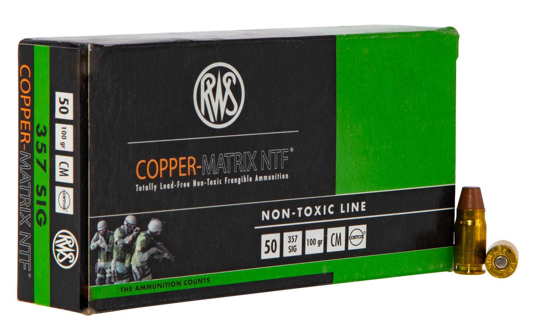 Ruag Ammotec USA 235740050 Copper Matrix  357 Sig 100 GR Non-Tox Frangible 50 Bx/ 10 Cs