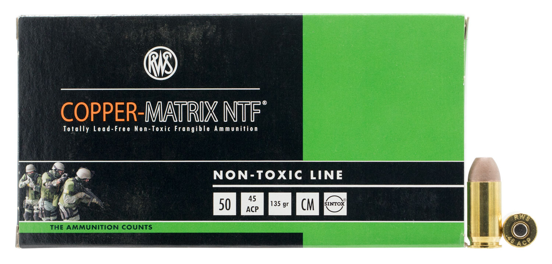 204540050 NTF RWS Copper-Matrix  45 ACP 135 GR Non-Tox Frangible 50 Bx/10 Cs