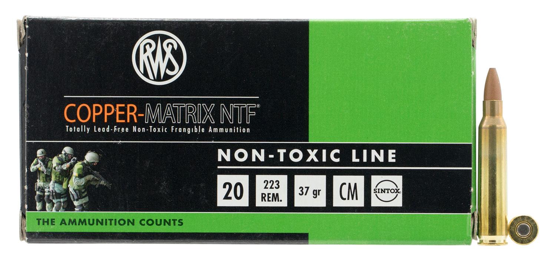 222340020 NTF RWS Copper-Matrix  .223 Remington 37 GR Non-Tox Frangible 20 Bx/25 Cs