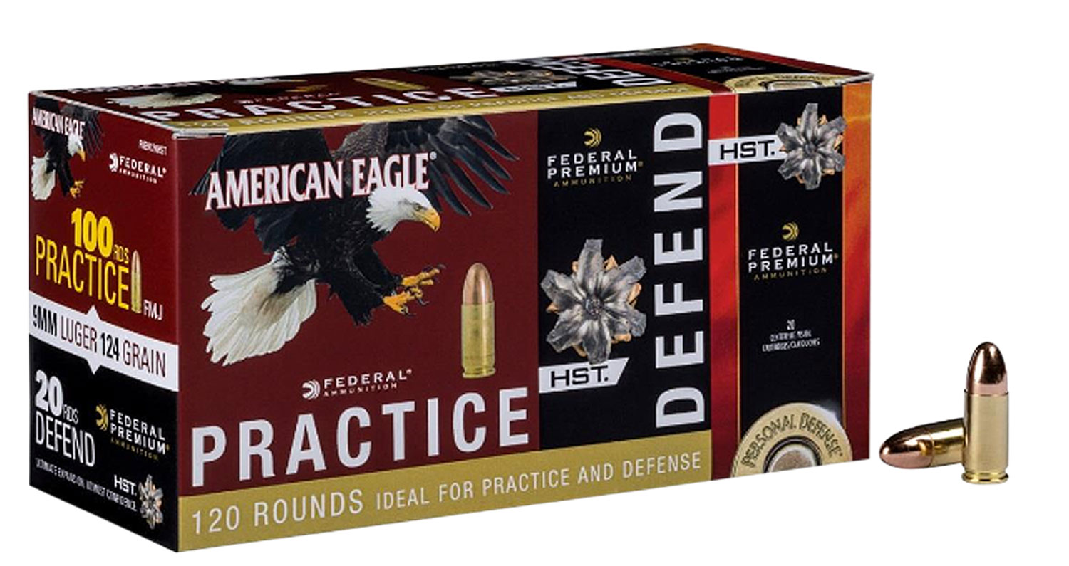 Federal PAE40180HST American Eagle Pratice and Defend Combo  40 Smith & Wesson (S&W) 180 GR Full Metal Jacket/HST 120 Bx/ 4 Cs