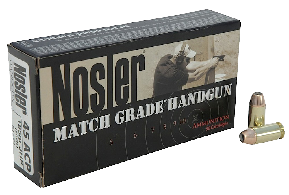 Nosler 51284 Match Grade 45 ACP Jacketed Hollow Point 230gr 50Box/10Case