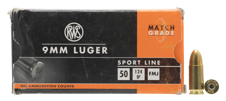 210140050 FMJ RWS Sport  9mm Luger 124 GR Full Metal Jacket 50 Bx/20 Cs