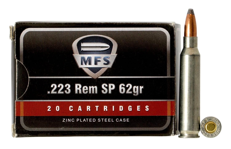 520540020 SP MFS Zinc  223 Remington/5.56 NATO 62 GR Soft Point 20 Bx/25 Cs