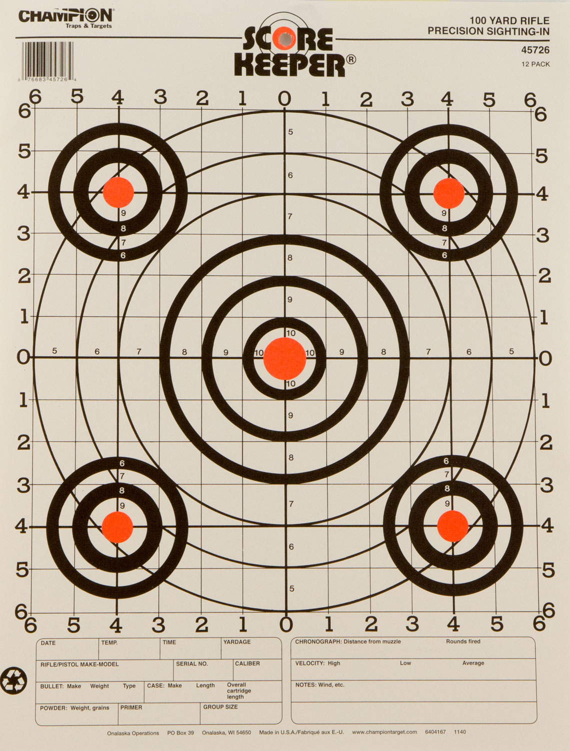 Champion Targets 45726 Scorekeeper Rifle Sight-In 12 Pack