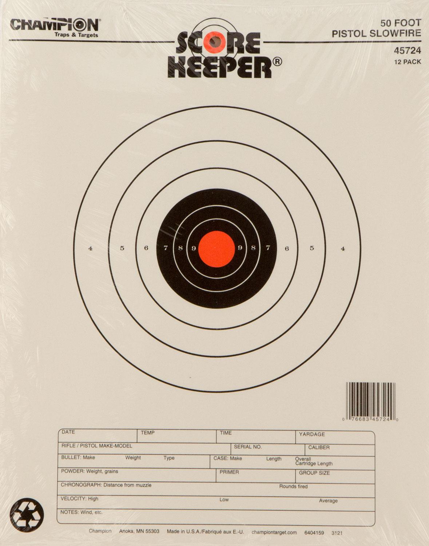 Champion Targets 45724 Score Keeper 50 Yd Pistol Slowfire 12 Pack