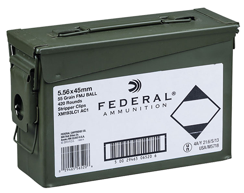 Federal XM193LCAC1 M193 5.56NATO 55GR FMJ Can 20Boxes/21 420rd/Can