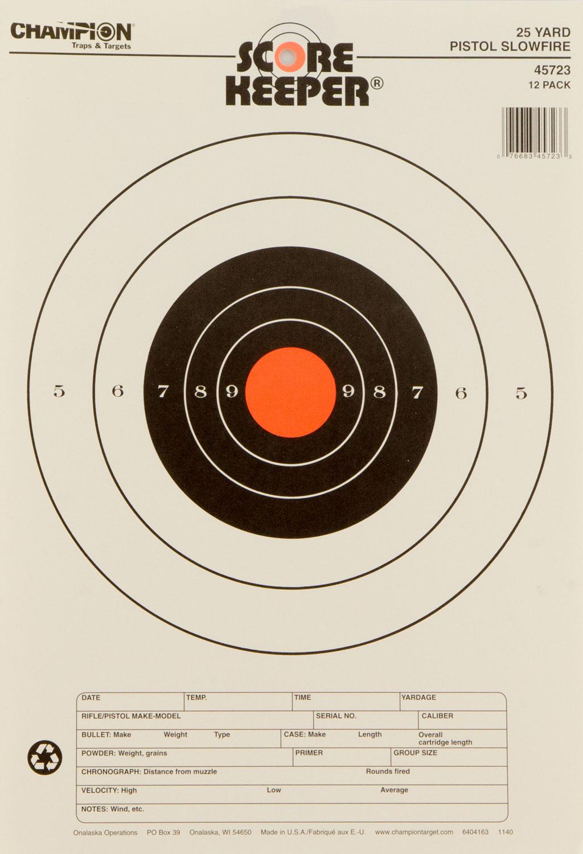 Champion Targets 45723 Scorekeeper 25 Yd Pistol Slowfire 12 Pack