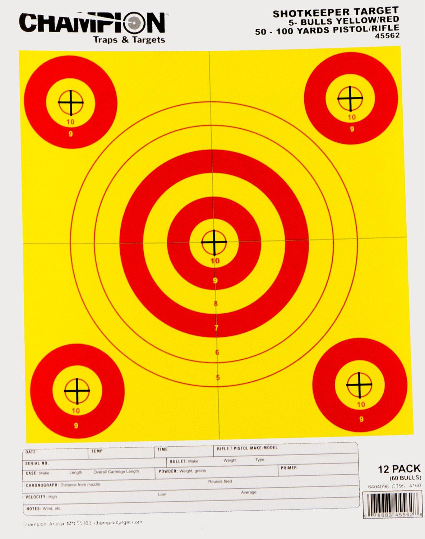 Champion Targets 45562 Shotkeeper 5-Bullseye Yellow/Red 12 Pack