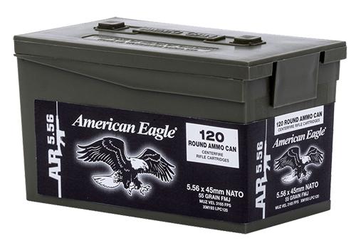 Federal XM193LPC120 American Eagle Rifle XM Bulk Pack  223 Remington/5.56 NATO 55 GR Full Metal Jacket Boat Tail 120 Bx/ 5 Cs
