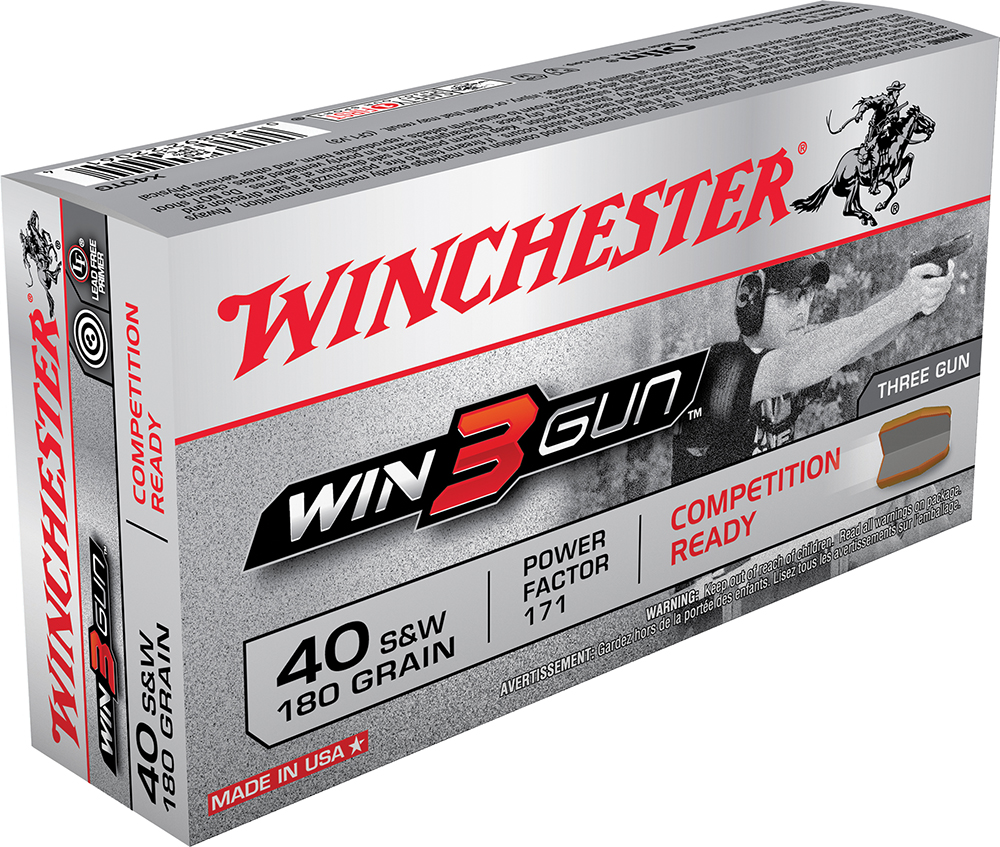 Winchester Ammo X40TG Win3Gun 40 Smith & Wesson 180 GR Jacketed Flat Nose 50 Bx/ 10 Cs