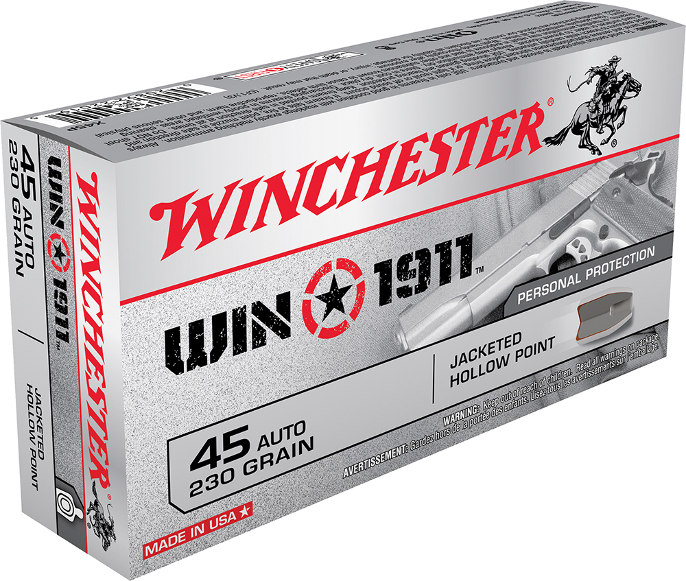 Winchester Ammo X45P Win1911 45 Automatic Colt Pistol (ACP) 230 GR Jacketed Hollow Point 50 Bx/ 10 Cs