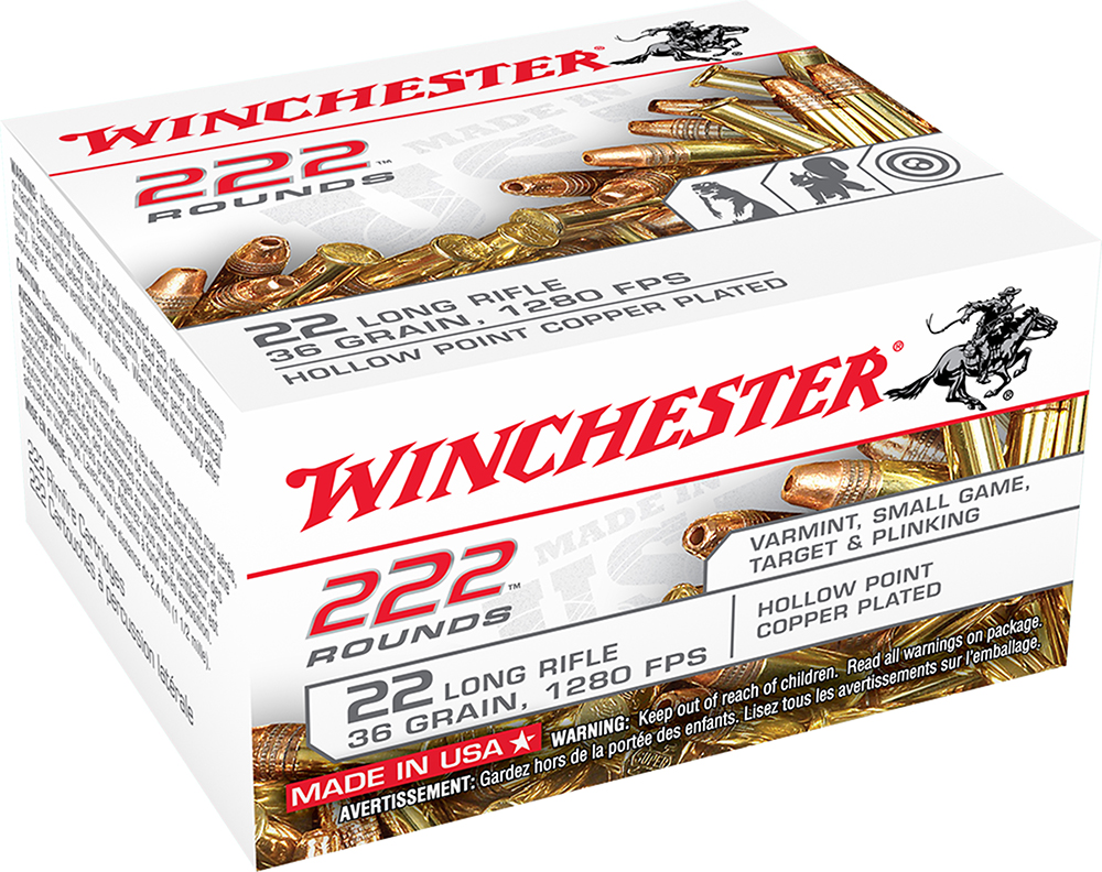 Winchester Ammo 22LR222HP 222 Round 22 Long Rifle 36 GR Copper-Plated Hollow Point 222 Bx/ 10 Cs