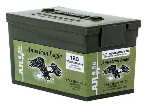 Federal XM855LPC120 American Eagle Rifle XM Bulk Pack  223 Remington/5.56 NATO 62 GR Full Metal Jacket Boat Tail 120 Bx/ 5 Cs
