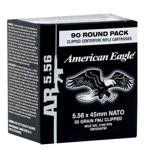 Federal XM193AF90 American Eagle Rifle  Clip 223 Remington/5.56 NATO 55 GR Full Metal Jacket Boat Tail 90 Bx/ 5 Cs